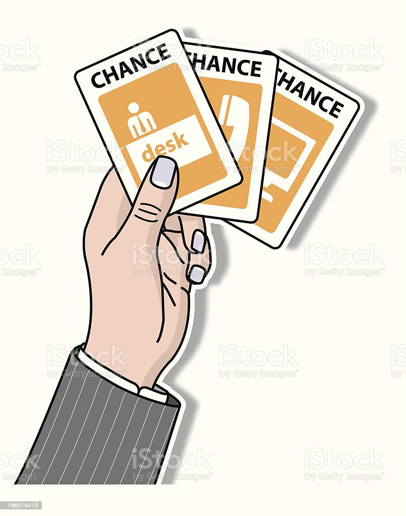 hand holding chance cards royalty-free stock vector art