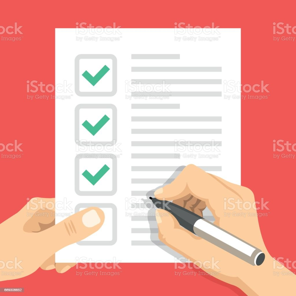Hand holding checklist and hand holding pen. Sheet of paper with check marks, tick icons. Filling form, to-do list, exam, claim, survey, application, task list concepts. Flat design vector illustration vector art illustration