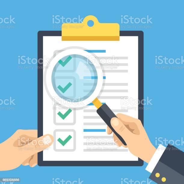 Hand holding checklist clipboard and hand holding magnifying glass vector id669306686?b=1&k=6&m=669306686&s=612x612&h=ebsbwff7e5bdlqj6hhbnb7ot9zubjb8obfzkk4088mg=