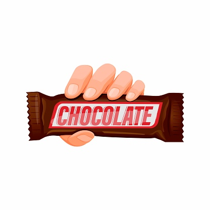 Hand holding Chocolate Snack Bar in cartoon illustration vector isolated in white background