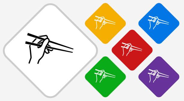 箸カラー ダイヤモンド ベクトルのアイコンを持っている手 - 和食点のイラスト素材/クリップアート素材/マンガ素材/アイコン素材