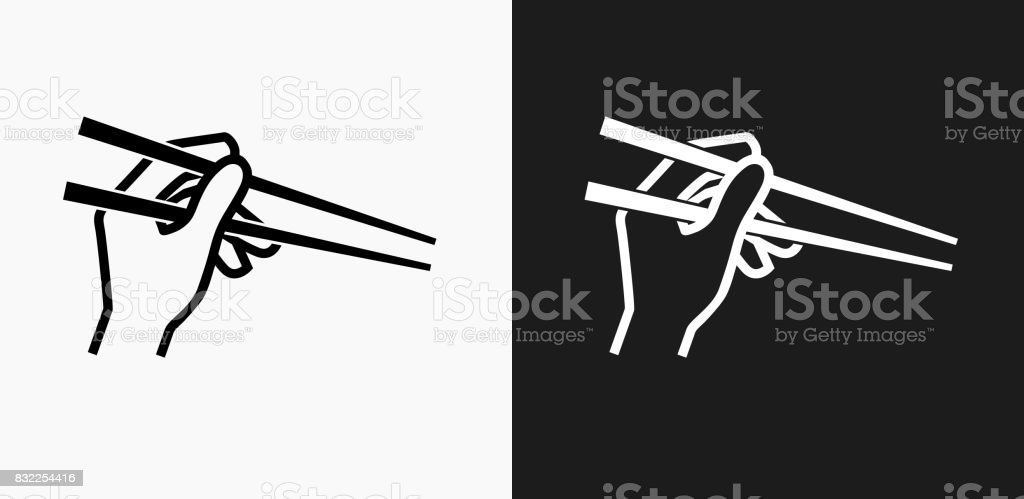 Hand Holding Chopsticks Icon on Black and White Vector Backgrounds vector art illustration