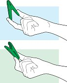 Vector line art of a hand holding a green clip closed and open.