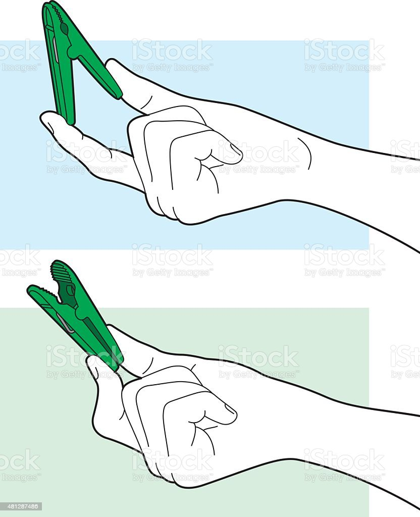 Hand Holding Clip Line Art vector art illustration
