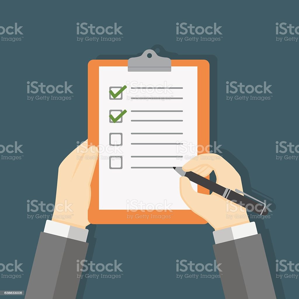 Hand Holding Clipboard and Filling A Checklist Form vector art illustration