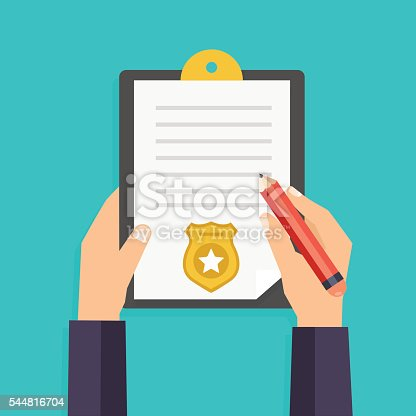 istock Hand holding clipboard with checklist and pen for police report. 544816704
