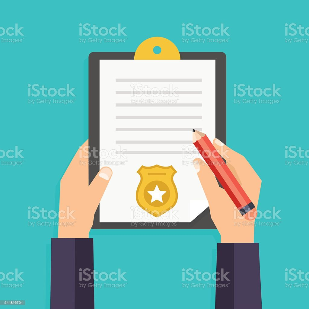 Hand holding clipboard with checklist and pen for police report. vector art illustration