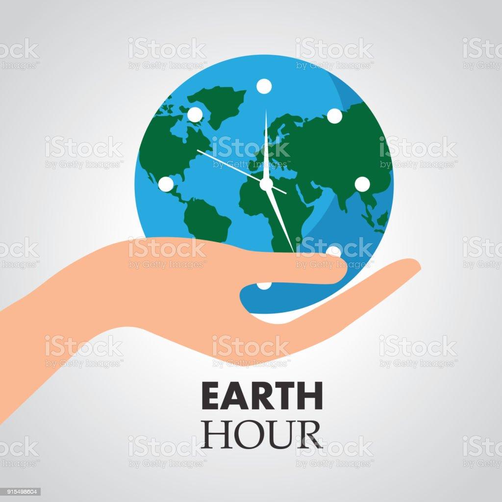 Planeta Hora Y La Sostiene Reloj Ilustración Mano De Del Más Que IYeE2WDH9