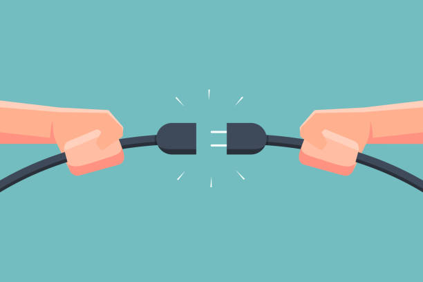 Hand holding connecting electric plug. Vector illustration Hand holding connecting electric plug. Vector illustration wired stock illustrations