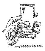Hand Holding Cosmetics Container Drawing