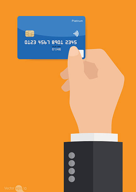 Hand holding credit card vector art illustration