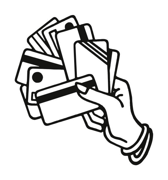 hand holding credit cards - credit card stock illustrations