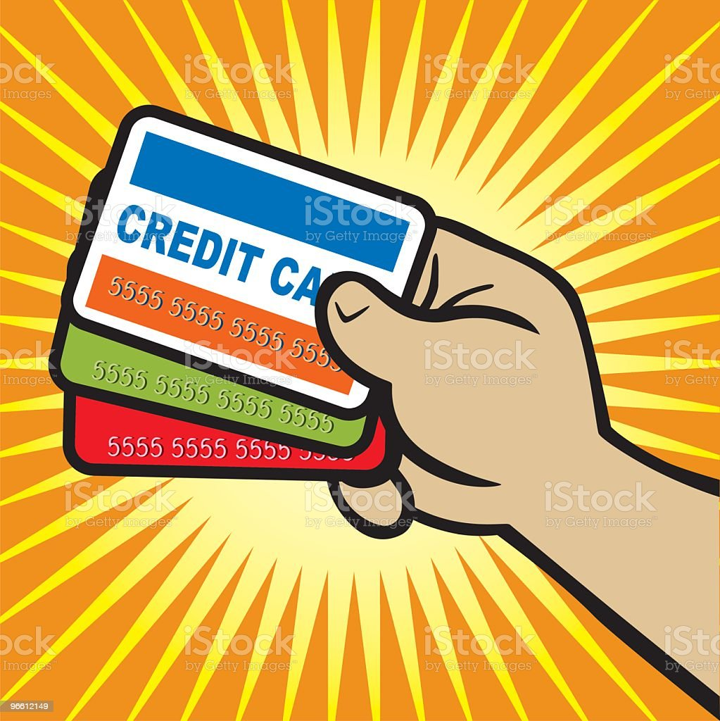 Hand Holding Credit Cards - Royalty-free Close-up stock vector