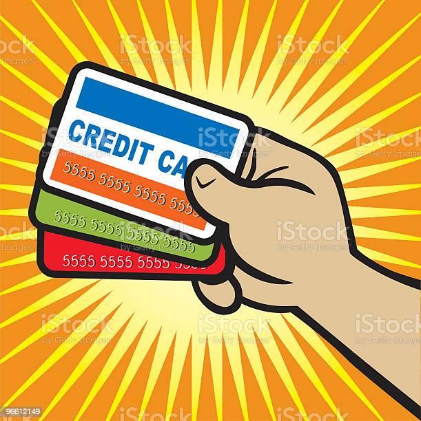 Рука Держит Кредитной Карты — стоковая векторная графика и другие изображения на тему Кисть руки человека
