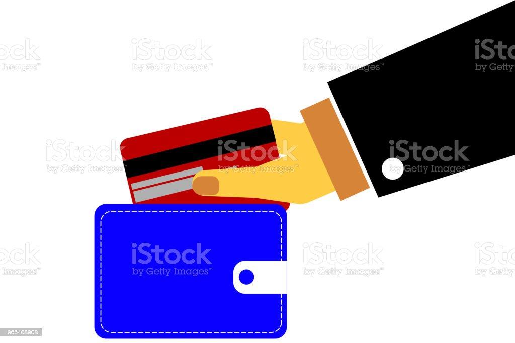 손-직불 또는 신용 카드를 들고 - 로열티 프리 구매 벡터 아트