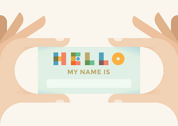hand holding design-hallo, mein name ist - hello stock-grafiken, -clipart, -cartoons und -symbole