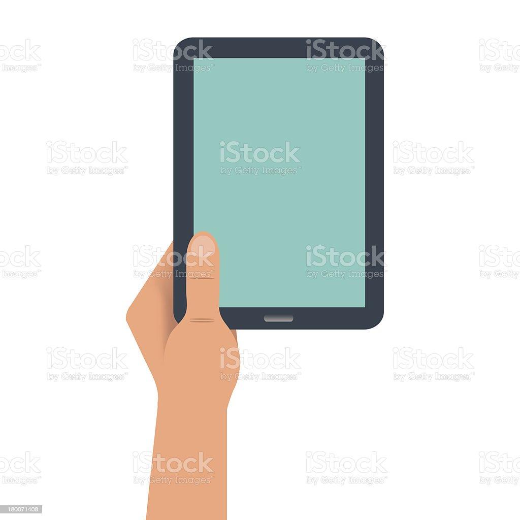Hand holding digital tablet portrait royalty-free hand holding digital tablet portrait stock vector art & more images of blank