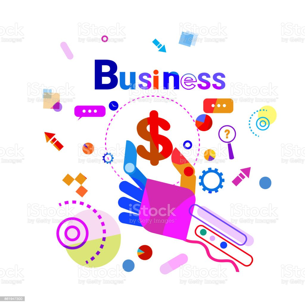 Hand Holding Dollar Business Financial Success Concept Banner vector art illustration