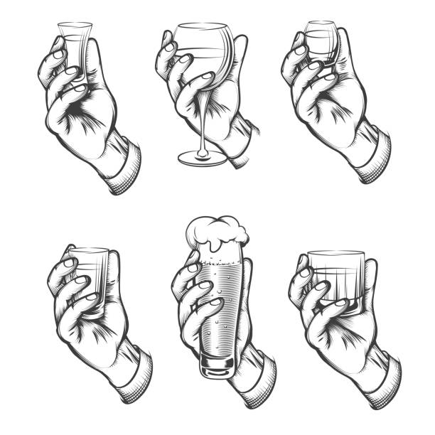 hand holding drink vintage sketch icons - alcohol drink drawings stock illustrations