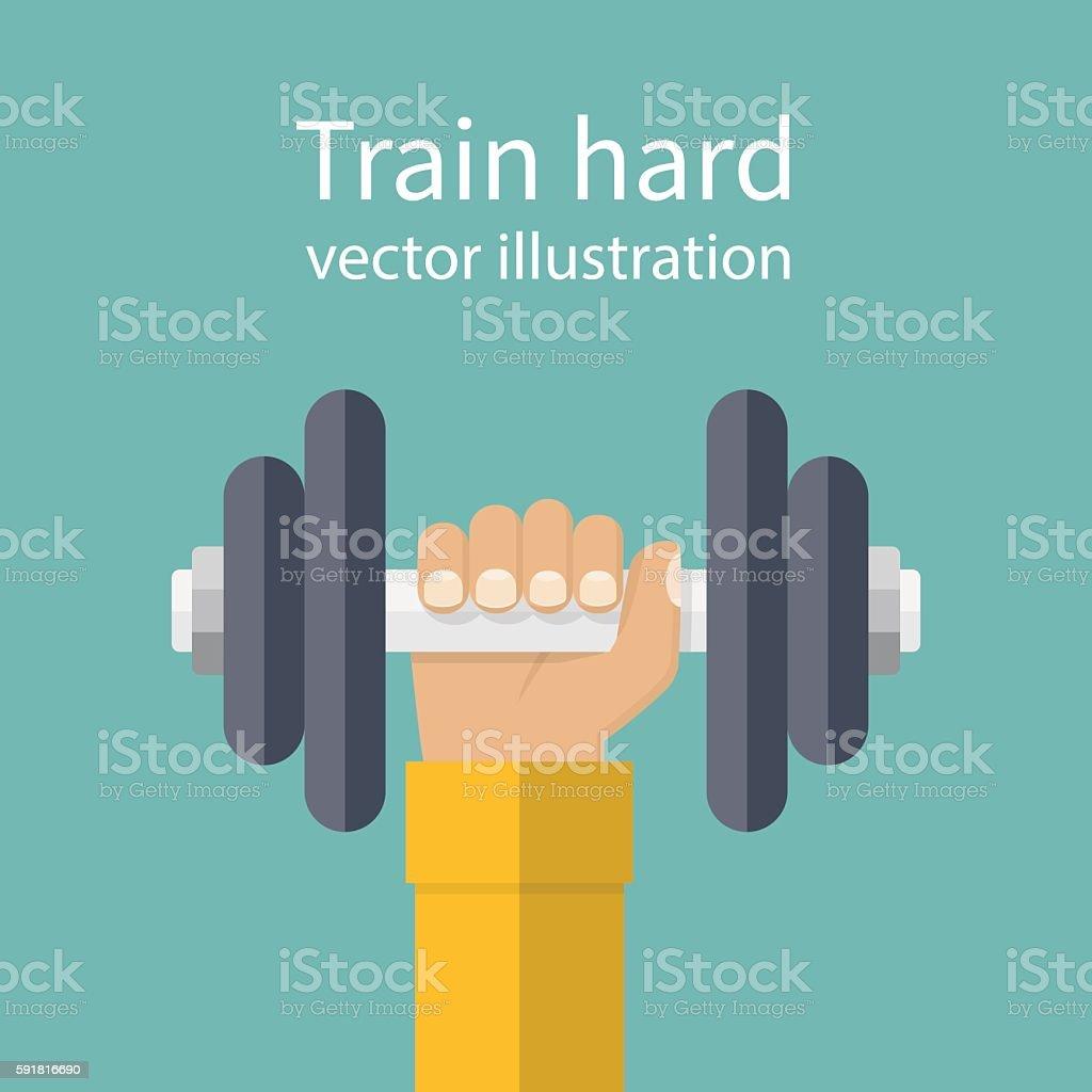 Hand holding dumbbell vector art illustration