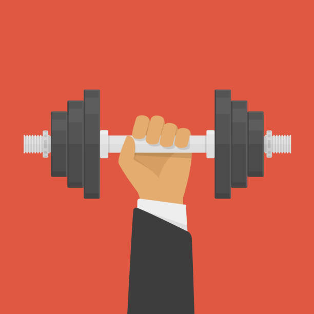 hand holding dumbbell. - cartoon muscle arms stock illustrations, clip art, cartoons, & icons