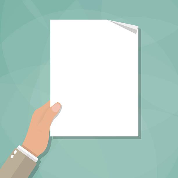 ilustrações de stock, clip art, desenhos animados e ícones de mão segurando vazio em branco de papel - segurar