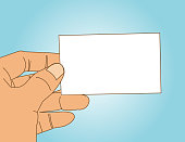 Vector of Hand holding empty business card. EPS Ai 10 file format.