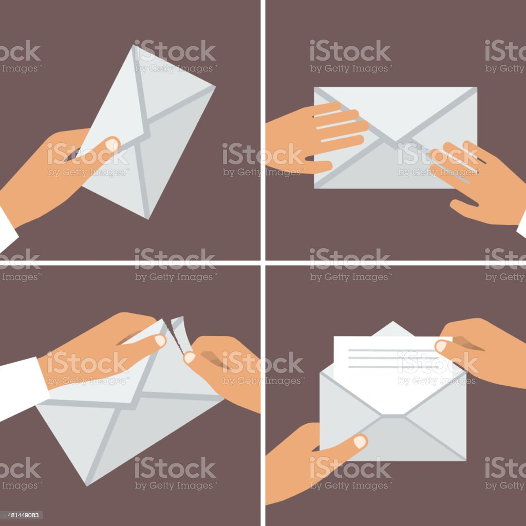 Hand Holding Envelope. Flat style. Vector illustrations set vector art illustration