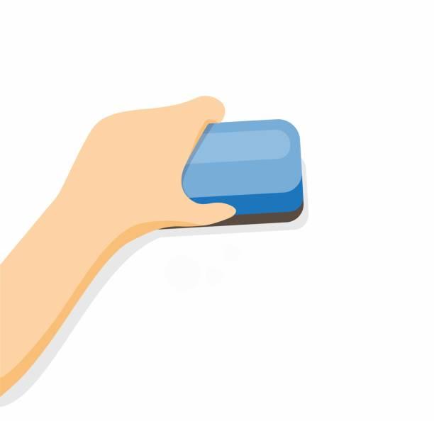 stockillustraties, clipart, cartoons en iconen met hand holding gum om in witte raadsbeeldvlakke illustratievector te wissen die in witte achtergrond wordt geïsoleerd - absentie