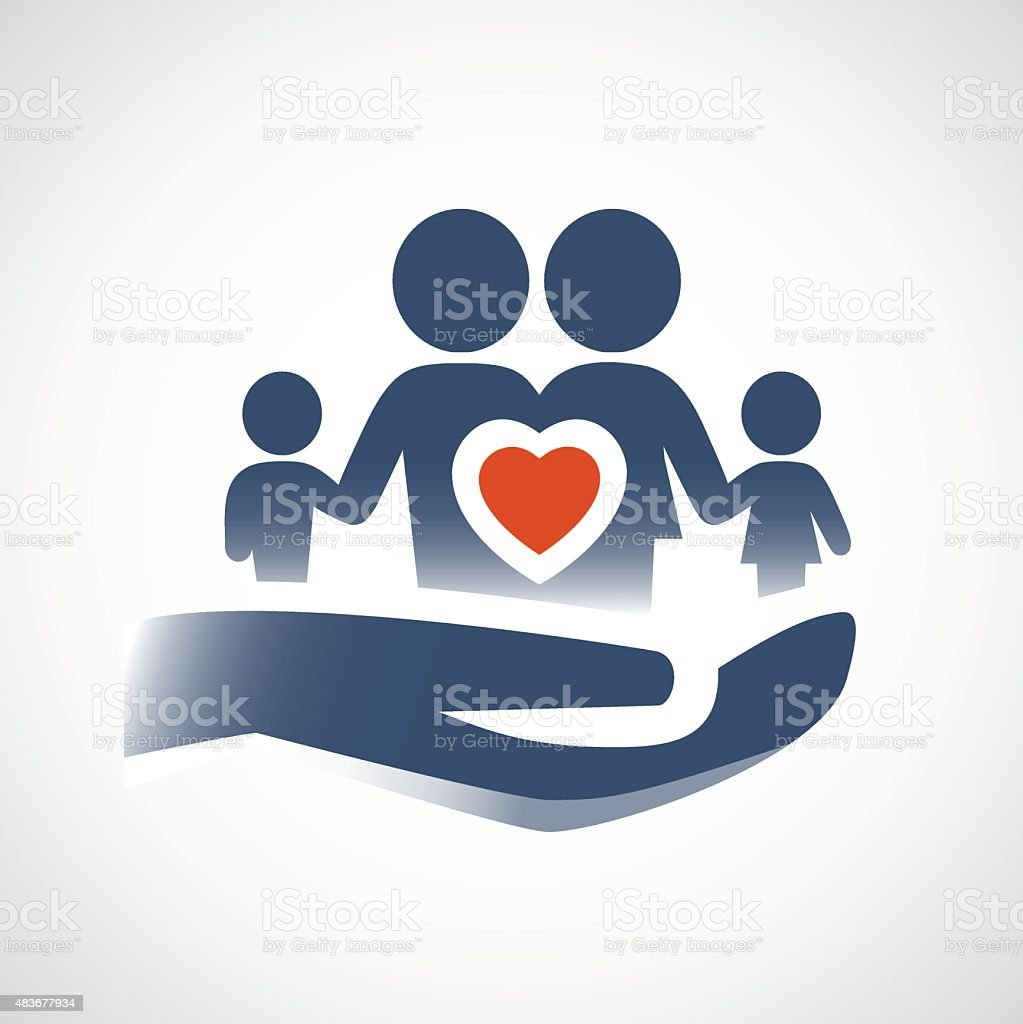 Hand Holding Family Symbol Love Or Life Insurance Concept Stock