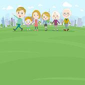Hand holding family three generations White_Walking Park