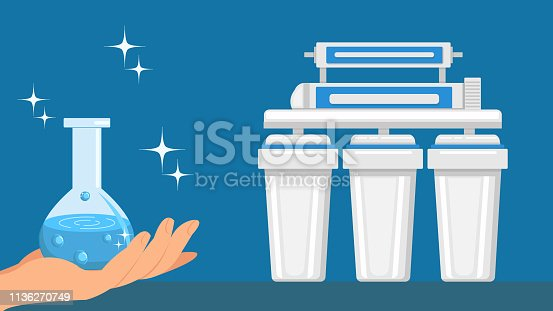 Hand Holding Flask with Water Vector Illustration. Glass Bottle with Pure Liquid. Reverse Osmosis Filtration System. Clean Fluid with Bubbles. Water Purification, Treatment Technology