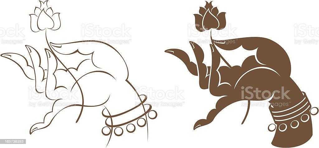 hand holding flower vector art illustration