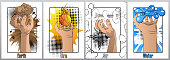 Hand holding four nature element: earth (ground), fire, water and wind - comic book style, cartoon vector illustration. Poster