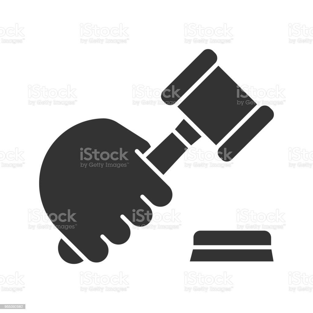 Hand holding gavel icon - Grafika wektorowa royalty-free (Autorytet)