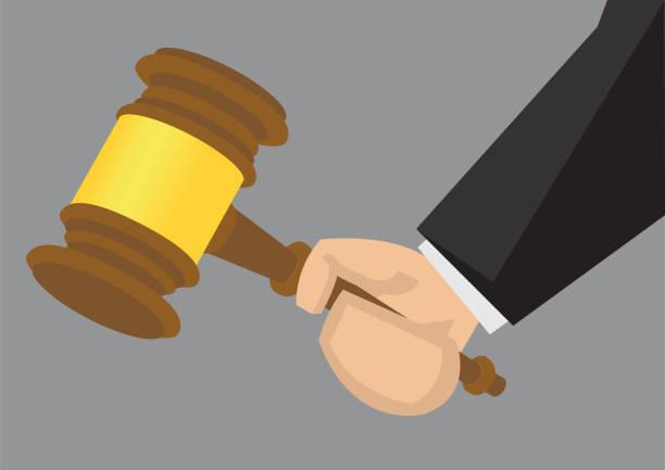 hand holding gavel vector cartoon illustration - supreme court stock illustrations