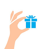 Hand Holding Gift Box - Vector