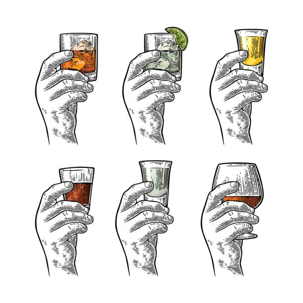 Hand holding glass with tequila, vodka, rum, cognac, whiskey, gin. vector art illustration