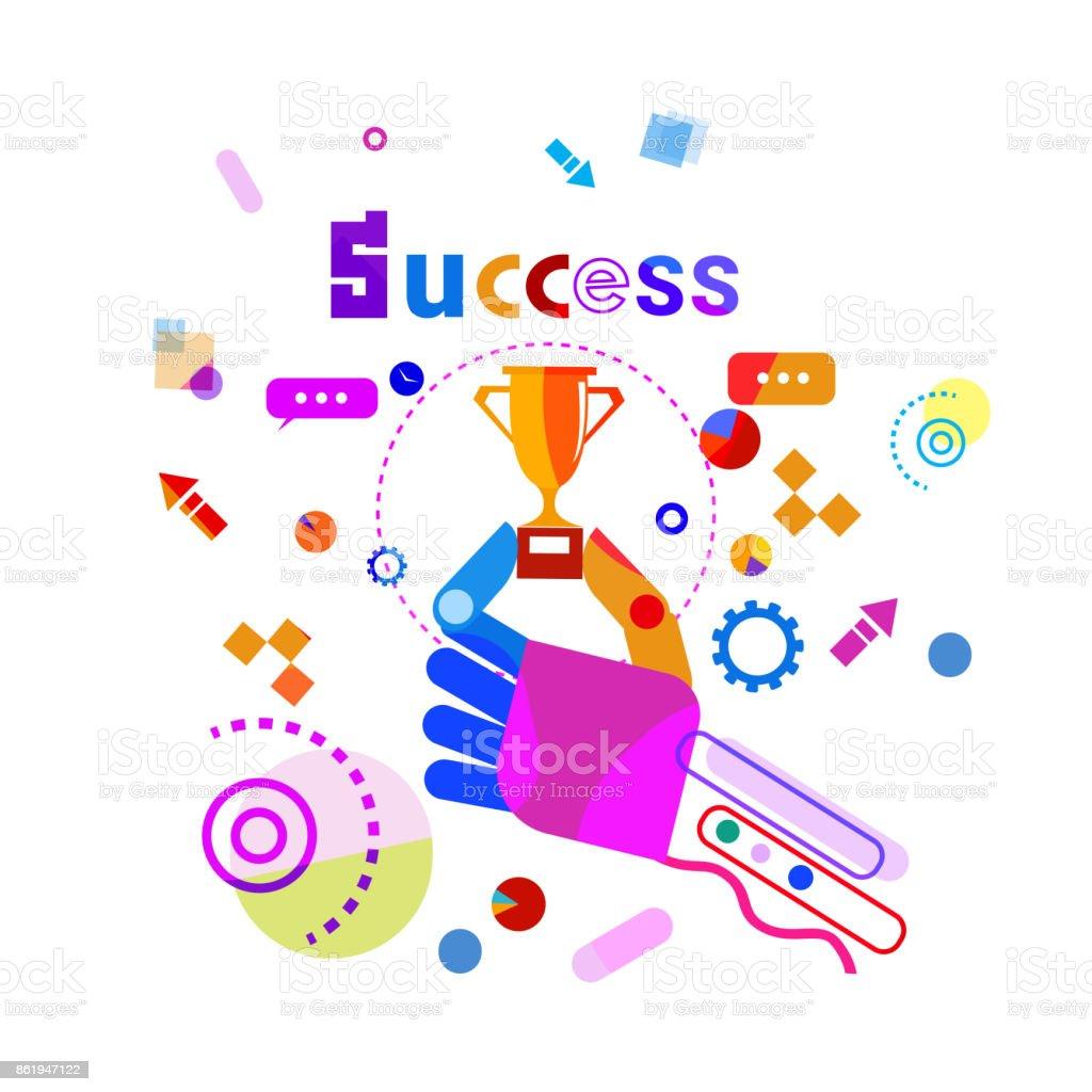 Hand Holding Golden Cup Business Success Concept Banner vector art illustration
