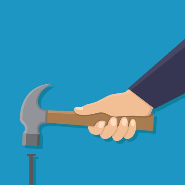 stockillustraties, clipart, cartoons en iconen met hand met hamer en een spijker, platte ontwerp vectorillustratie - hamer