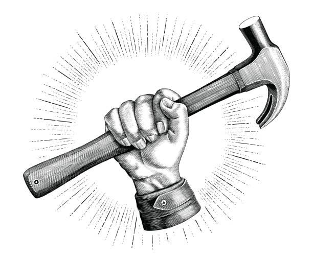 stockillustraties, clipart, cartoons en iconen met hand met hamer illustratie vintage illustraties voor timmerman logo geïsoleerd op witte achtergrond - hamer