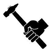 Hand holding hammer on a white background. Vector illustration