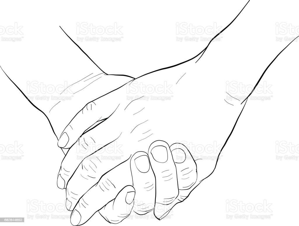 Hand, die hand Lizenzfreies hand die hand stock vektor art und mehr bilder von berufliche partnerschaft