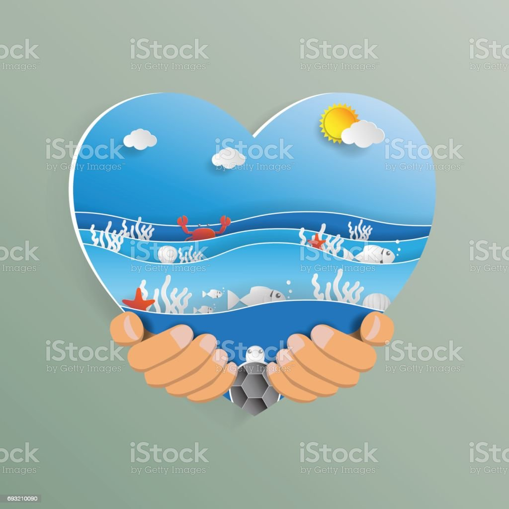 Hand holding heart shape with ocean wave paper art style. vector art illustration