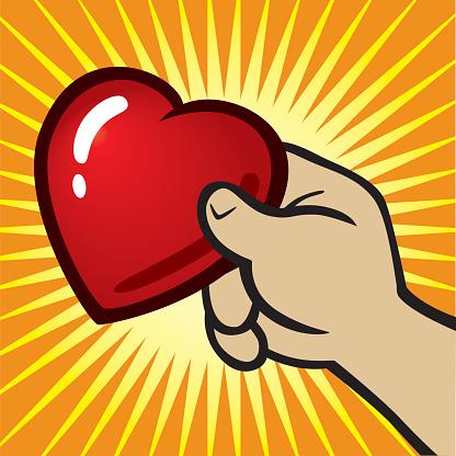 Рука Держит Сердце — стоковая векторная графика и другие изображения на тему Векторная графика