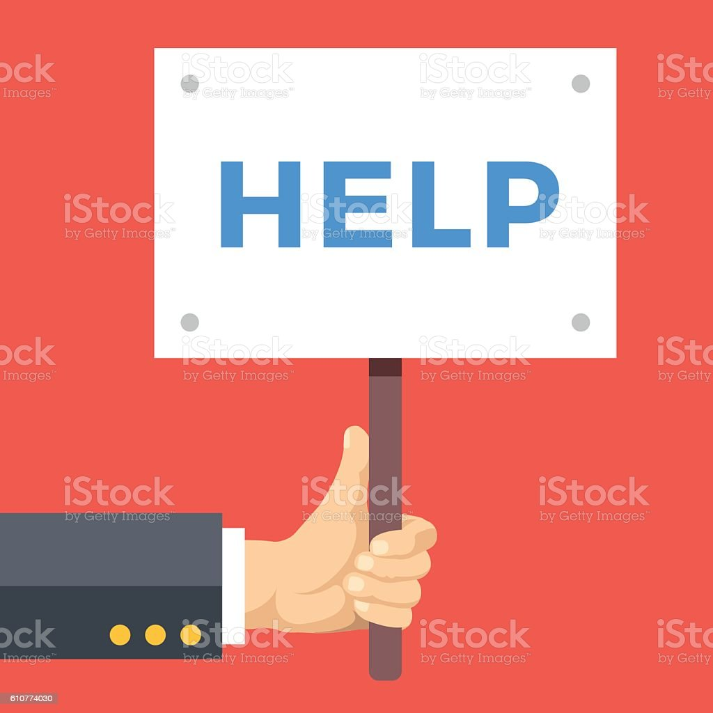 hand holding help sign board wooden placard with help word