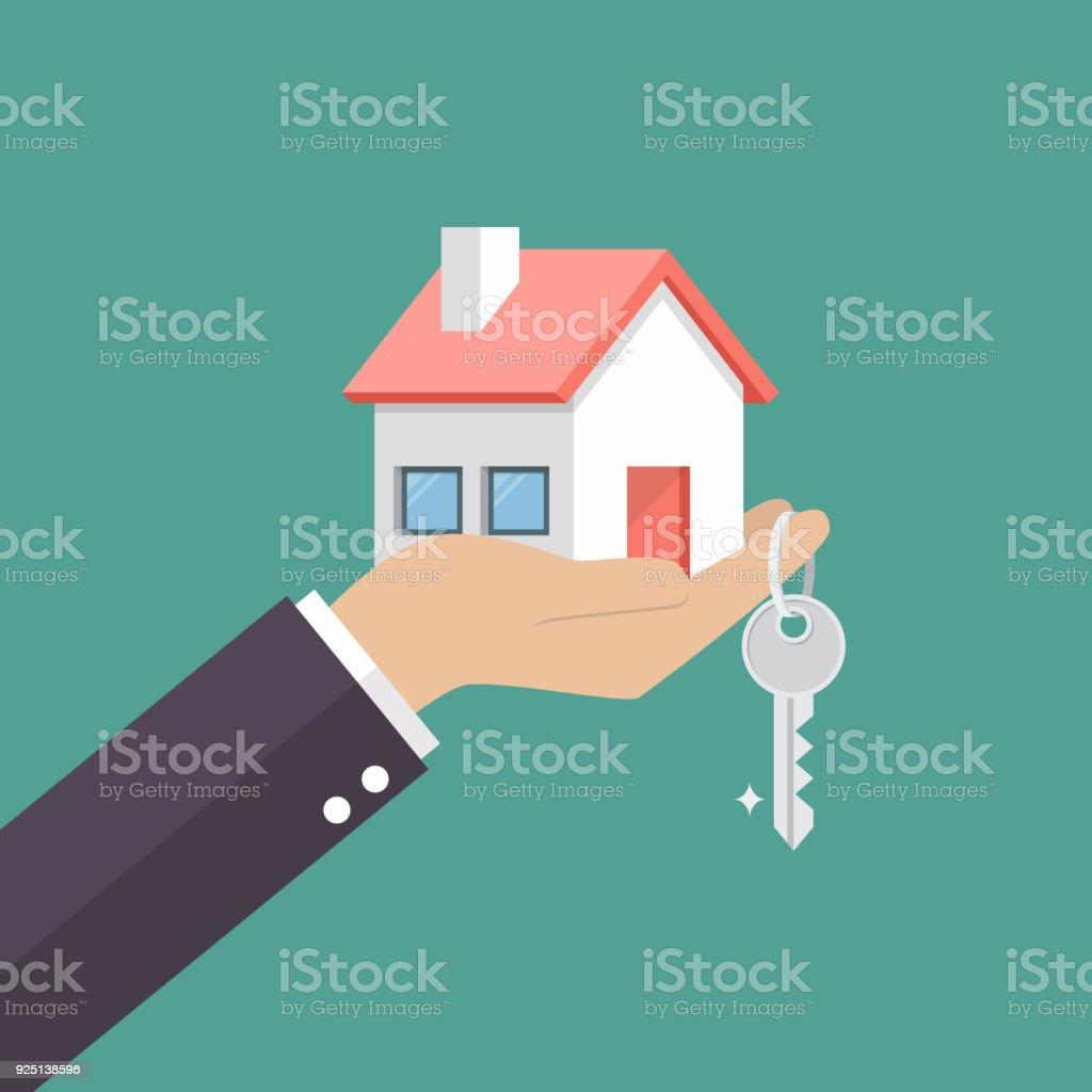 Mãos dadas em casa em palm e chave no dedo - ilustração de arte em vetor