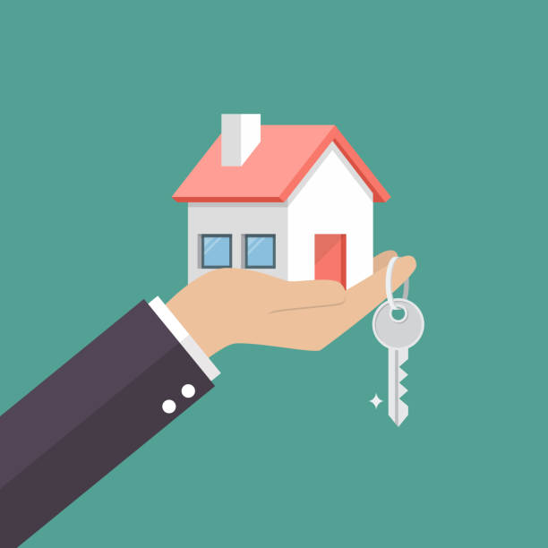 Hand holding home in palm and key on finger Hand holding home in palm and key on finger. Vector illustration home ownership stock illustrations