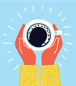 Vector cartoon illustration of hand holding hot coffee cup with , break morning time banner concept with hands top wiev, funny conseptillustration isolated on blue background
