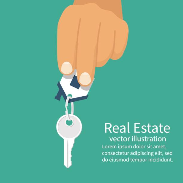 Hand holding house keys. Hand holding house keys. Handing key to home. Vector graphic illustration flat design. Template for sale, rent home. Isolated on white background. Real estate agent. Property gift. house key stock illustrations